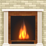 Classic fireplace vector icon. Classic fireplace icon. Vector fireplace for living room interior Stock Image