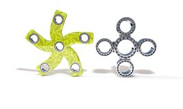 Classic and five hand fidget spinner, 3d render Stock Photos