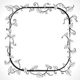 Classic floral frame. Vector illustration of a black and white vintage floral leaf frame with modern curls and vines Royalty Free Stock Images