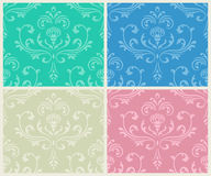Classic floral seamless backgrounds set. Stock Images