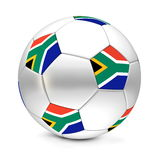 Classic Football Flag of South Africa. Classic football/soccer ball consisting of silver metallic hexagons and pentagons with the flag of South Africa Royalty Free Stock Photography