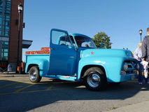 Classic Ford F100 Blue Pickup Truck at car show Royalty Free Stock Photography