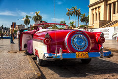 Classic Ford waiting for tourists in Havana Stock Photos
