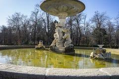 Classic fountain in the Retiro park , Madrid Spain Royalty Free Stock Photos