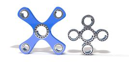 Classic and four hand fidget spinner, 3d render. Working Stock Photography