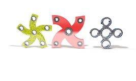 Classic and four red color fidget spinner, 3d render Stock Photo