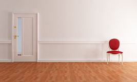 Classic foyer. Empty home entry foyer with classic chair - rendering Stock Photo