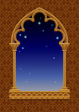 Classic frame in form of gothic decorative window with starry ni. Ght sky on the ornamental background. Vintage frame, cover and poster. There is in addition a Royalty Free Stock Photography
