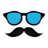 classic frame glasses with mustache Royalty Free Stock Photography