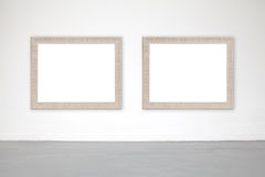 Classic frame on white cement wall in gallery. Stock Images