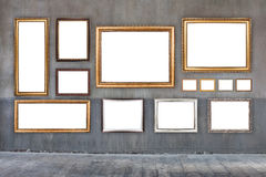 Classic frames on old cement wall Stock Images