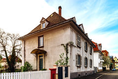Classic french house in residential district of Strasbourg, blos. Som spring time, flowering and gardening. France Stock Image