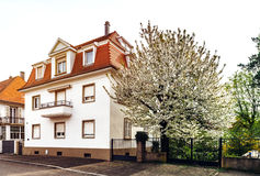 Classic french house in residential district of Strasbourg, blos. Som spring time, flowering and gardening. France Stock Images