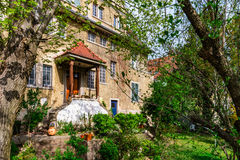 Classic french house in residential district of Strasbourg, blos. Som spring time, flowering and gardening. France Stock Photography