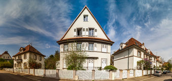 Classic french house in residential district of Strasbourg, blos. Som spring time, flowering and gardening. France Royalty Free Stock Photos