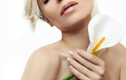 The classic French manicure on female hand royalty free stock photos