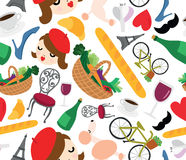 Classic French Things Seamless Background Royalty Free Stock Images