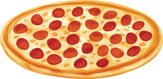 Classic Fresh Pepperoni Pizza Vector Illustration. Classic whole pepperoni pizza with regular crust. Isolated vector illustration Royalty Free Stock Image