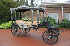 Classic funeral carriage with coffin Royalty Free Stock Image