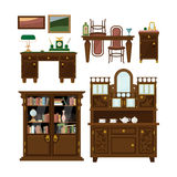 Classic furniture set in flat style vector Royalty Free Stock Photo