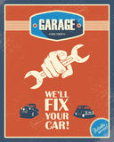 Classic garage poster. Vintage cars. Retro style. Design. Grunge background. Long shadow font. Automotive repair shop. Eps10 vector illustration Royalty Free Stock Image