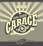 Classic garage retro banner design concept. Vintage car repair poster template. Commercial ad template for transportation business. Design elements. Auto Royalty Free Stock Image