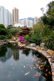 Classic garden in the city. Pavilion Bridge stands on the end of Blue Pond stock photography