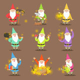 Classic Garden Gnomes In Colorful Outfits Set Of Cartoon Characters Different Situations Stock Photos