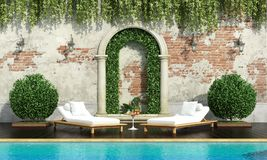 Classic garden with pool. Classical garden with pool two chaise lounge and lush vegetation - 3d rendering Royalty Free Stock Photos