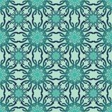 Classic geometry art deco patterns in trendy green color. Symmetric floral motif. Repeatable decorative vector background tile in Stock Image