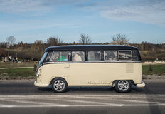 Classic German camper Volkswagen. Classic German van Volkswagen T1 driving in Gdansk, Poland Stock Images