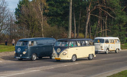 Classic German campers Volkswagen. Classic German vans Volkswagen driving in Gdansk, Poland Stock Image