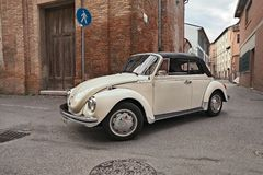 Classic German car Volkswagen Type 1 Beetle Cabriolet. Classic German car Volkswagen Type 1 Beetle traveling during the 24th Meeting auto vintage in November 11 royalty free stock photos