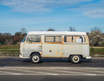 Classic German rusty camper Volkswagen. Classic rusty German van Volkswagen Transporter driving in Gdansk, Poland Stock Images