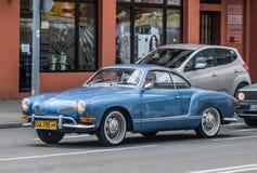 Classic German VW Karmann Ghia driving Stock Photos
