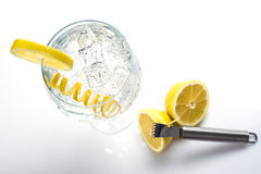 Classic gin and tonic with a lemon twist Stock Images