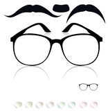 Classic glasses, mustache. Stock Images