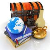 Classic global scene with Earth, kerosene lamp, chest. And notebooks. 3d render vector illustration