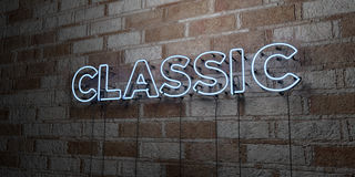 CLASSIC - Glowing Neon Sign on stonework wall - 3D rendered royalty free stock illustration Royalty Free Stock Photography