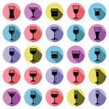 Classic goblets collection – martini, wineglass, cognac and wh Royalty Free Stock Photo