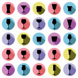 Classic goblets collection – martini, wineglass, cognac and wh Stock Photography
