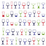 Classic goblets collection, vector martini, wineglass, cognac Stock Photo