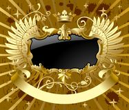 Classic gold-black banner. Raster version of vector classic gold-black banner with wings There is in addition a vector format (EPS 8