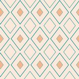 Classic gold and light blue rhombus geometric design. Seamless vector pattern on neutral cream background. Great for stock photos