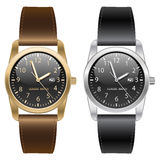 Classic gold and silver wrist watch. Brown and black strap on white background vector. Royalty Free Stock Image