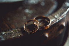 Classic gold wedding rings on the edge of barrel. Classic gold wedding ring on the edge of a wooden barrel. macro royalty free stock image
