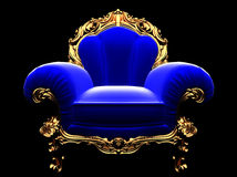 Classic golden chair in the dark Stock Photography