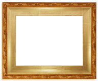 Classic golden frame. Isolated on white background Royalty Free Stock Photography