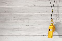 Classic Golden Metal Coaches Whistle Hanging On Red Rope. 3d Rendering Stock Photo