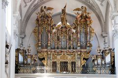 Pipe organ in the interior of a Christian church Royalty Free Stock Photos